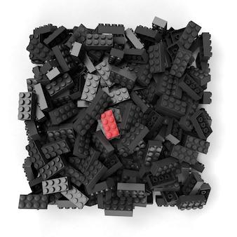 黒のものと対照的な赤い建設ブロックの3dレンダリング