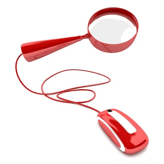 3d-рендеринг красной лупы, подключенной к компьютерной мыши