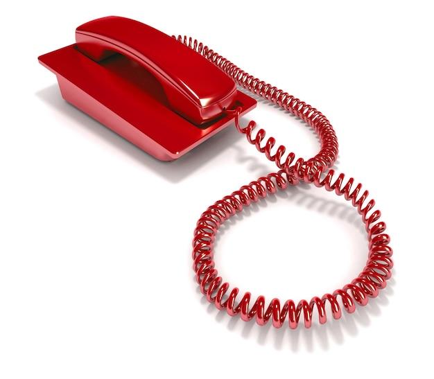 番号をダイヤルせずに長方形の赤い電話の3dレンダリング