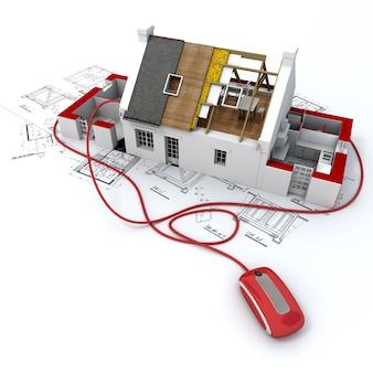 コンピューターのマウスに接続された青写真の上にある住宅建築モデルの3dレンダリング