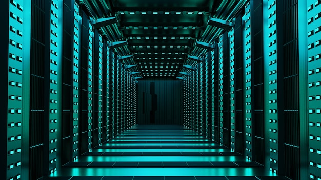미래 우주 시대 추상에서 공상 과학 빈 복도의 3d 렌더링.