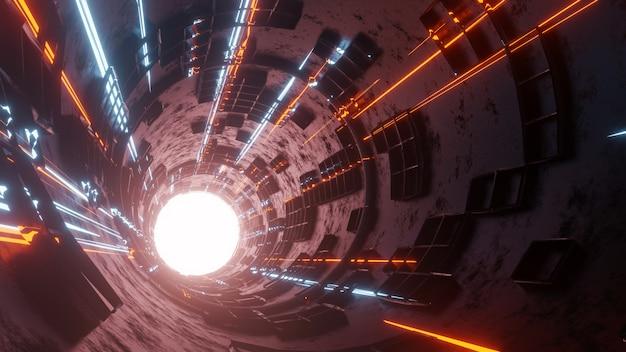 動く光を使ったsfトンネルの3dレンダリング抽象的なハイテクトンネル