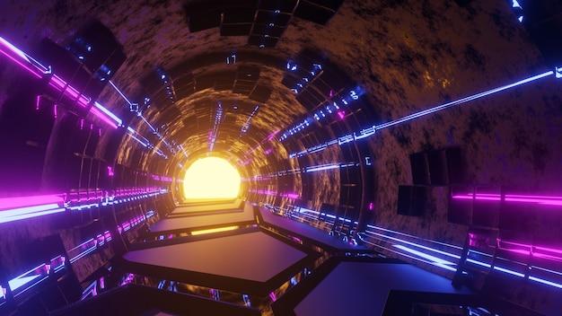 움직이는 빛이 있는 공상 과학 터널의 3d 렌더링 추상 하이테크 터널