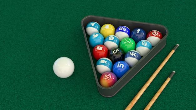 3d рендеринг набора бильярдных шаров с логотипами основных социальных сетей на зеленом столе
