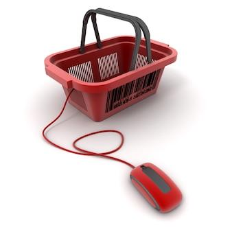 3d-рендеринг корзины для покупок, подключенной к компьютерной мыши