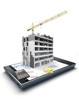 3d-рендеринг смартфона со строящимся жилым домом, поверх графики и выступающей формы заявки на ипотеку