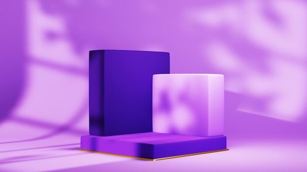 음영 처리된 창 공간 배경에 제품을 표시하기 위한 분홍색 톤의 정사각형 연단의 3d 렌더링. 쇼 제품에 대한 모형.