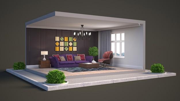 세련되고 현대적인 객실의 3d 렌더링