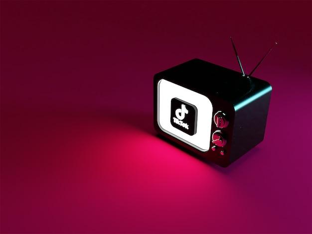 輝くtiktokロゴのあるテレビの3dレンダリング