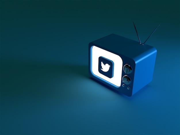 輝くtwitterロゴのあるテレビの3dレンダリング