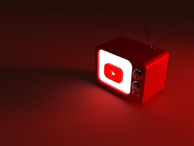 빛나는 youtube 로고가있는 tv의 3d 렌더링