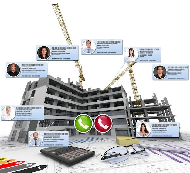 建設と建築のコンテキストに関するビデオ会議の3dレンダリング