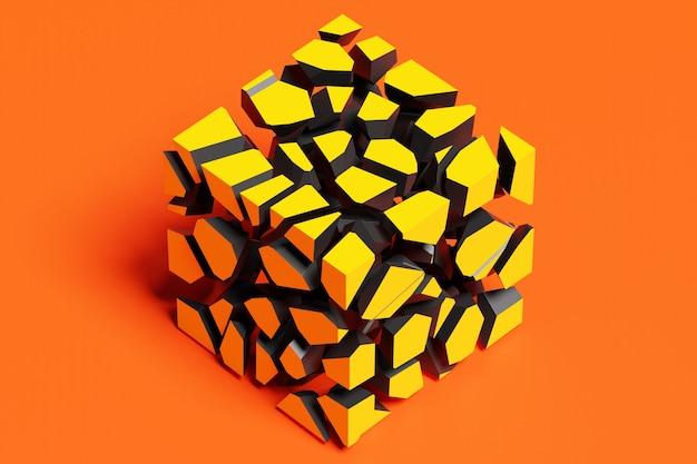 큐브의 체적 모양의 3d 렌더링. 작은 조각으로 쪼개진 모양의 기하학. 임의의 모양.