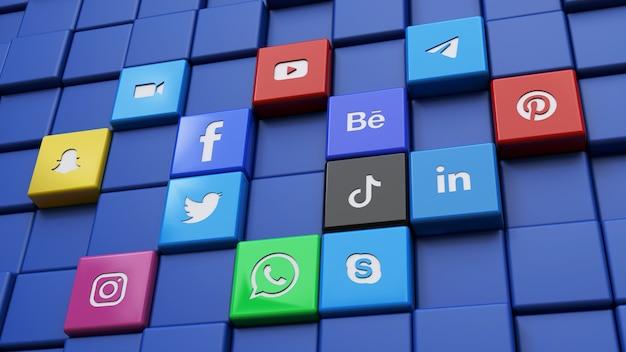 最も人気のあるソーシャルネットワークキューブのロゴで作られた壁の3dレンダリング