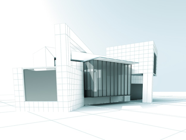 건축 프로젝트에 대한 흰색 현대 건물의 3d 렌더링 프리미엄 사진