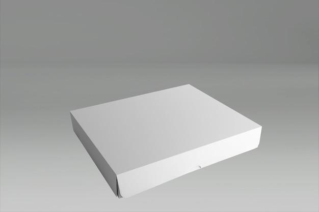 회색에 닫힌 뚜껑이있는 흰색 사각형 상자의 3d 렌더링