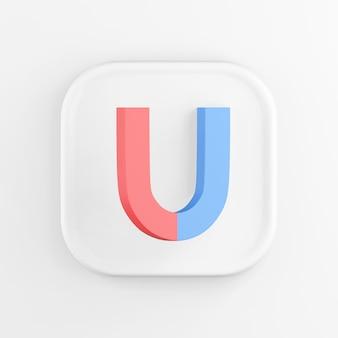 3d-рендеринг кнопки со значком белого квадрата. подковообразный магнит синий и красный, изолированные на белом фоне.