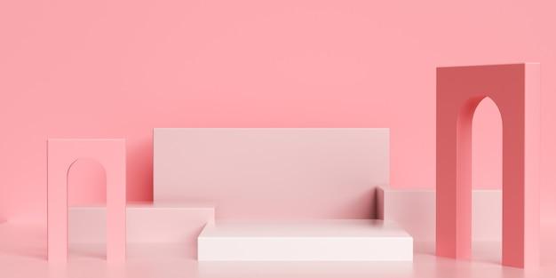 디스플레이를 모의에 대 한 추상적 인 기하학적 핑크와의 3d 렌더링