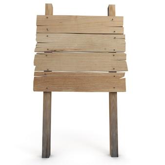 木製の方向標識の3dレンダリング
