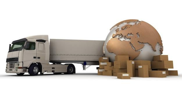 世界地図、パッケージ、トラックの3dレンダリング
