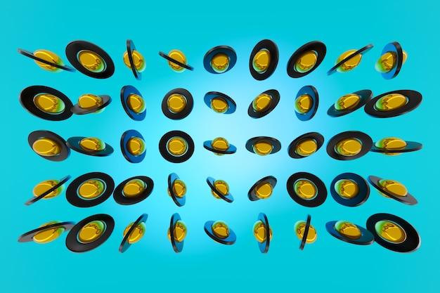 3d-рендеринг желтого и черного гироскопов на синем фоне