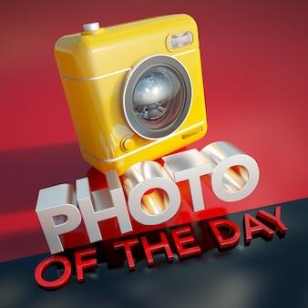 黄色いカメラと看板の3dレンダリング今日の写真