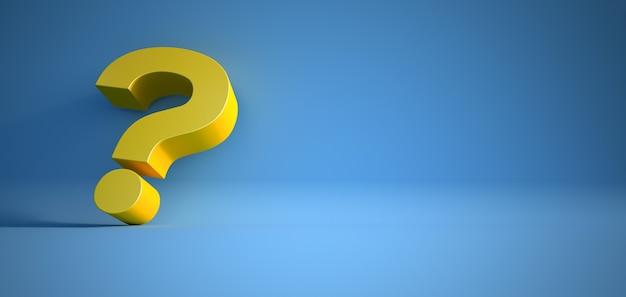 3d-рендеринг желтого вопросительного знака на синей поверхности