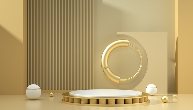 3d-рендеринг абстрактного фона с подиумом и кругами для отображения продукта