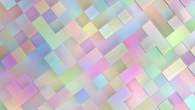 正方形のパステルトーンで抽象的な背景の3dレンダリング