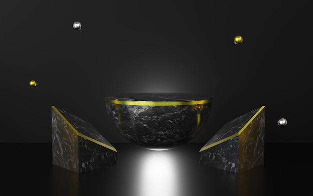 抽象的な黒い背景プレミアム表彰台の3dレンダリング。