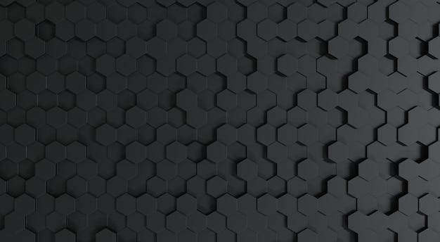3d-рендеринг, абстрактный черный шестиугольник, технический фон, обои в форме шестиугольника