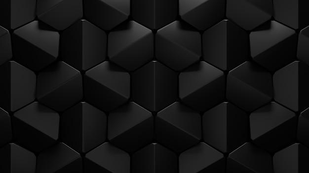 抽象的な黒い六角形の背景の3dレンダリング