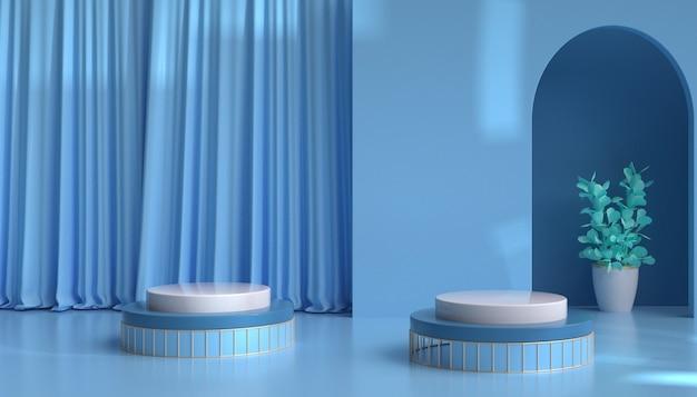 製品の表示のためのカーテンと抽象的な青い背景の3dレンダリング