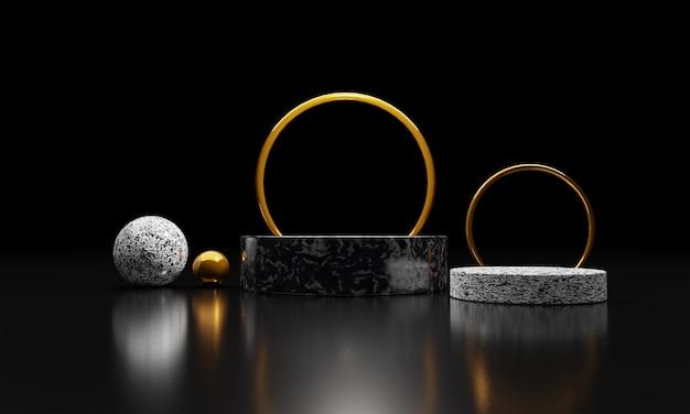황금 동그라미와 제품 프리젠 테이션을위한 추상적 인 구성의 3d 렌더링