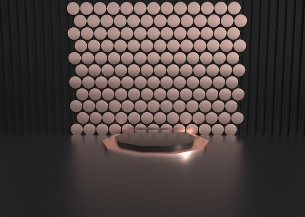 제품 표시에 대 한 추상 어두운 배경 원형 벽의 3d 렌더링