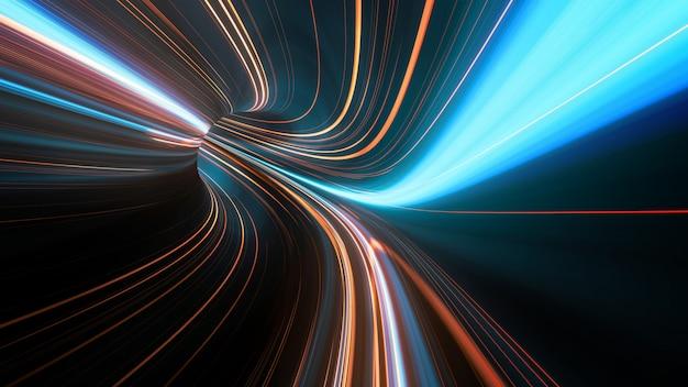 輝く光フレアと抽象的な高速移動ストライプラインの3 dレンダリング。高速モーションブラー。