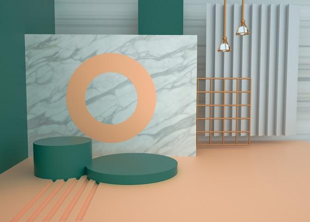 둥근 받침대와 추상적 인 기하학적 배경의 3d 렌더링