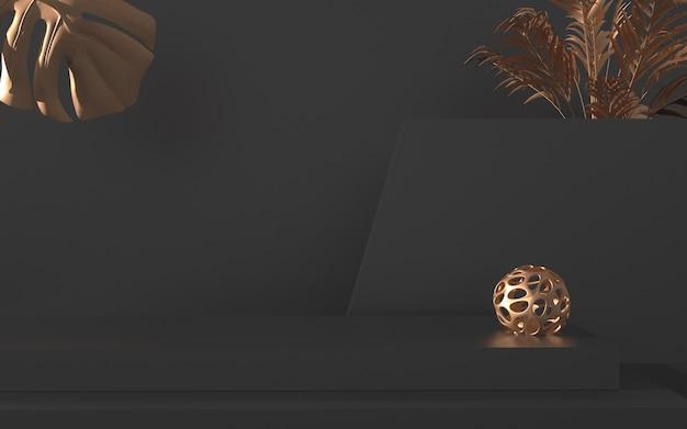 제품 표시에 대 한 추상적 인 기하학적 어두운 배경의 3d 렌더링