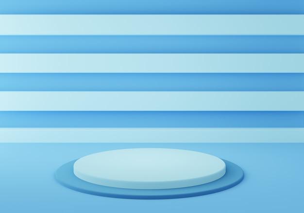 抽象的な幾何学的な空の青いシリンダー表彰台の3dレンダリング