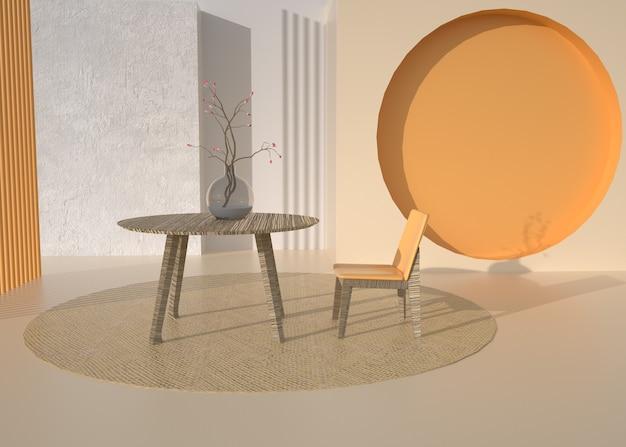 製品展示用の抽象的な幾何学的なリビングルームの3dレンダリング
