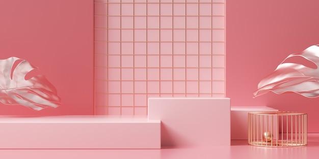 제품 디스플레이에 대 한 사각형 연단과 추상적 인 기하학적 핑크의 3d 렌더링 프리미엄 사진