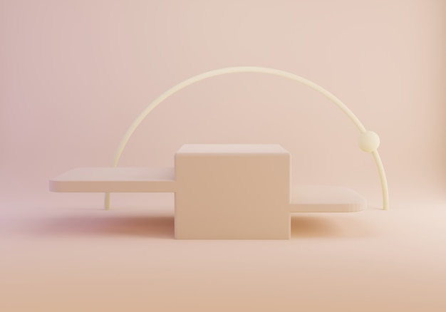 Перевод 3d подиума абстрактной геометрической формы пустого на пастельном цвете.