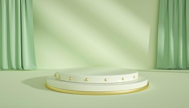 제품 표시를위한 커튼과 추상적 인 기하학적 무대의 3d 렌더링