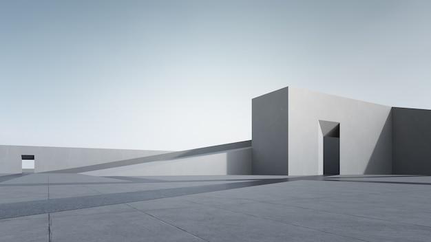 맑은 하늘와 추상 회색 건물의 3d 렌더링.