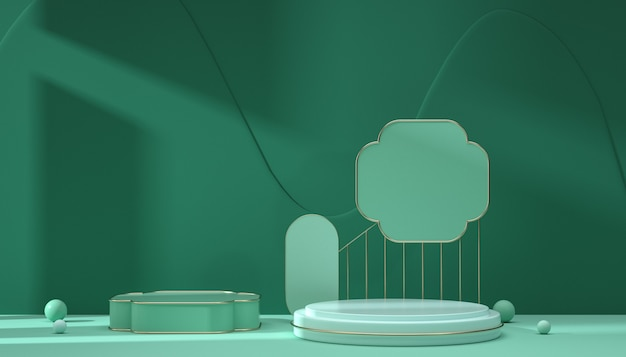 製品表示のための抽象的な緑の背景シーンの3dレンダリング