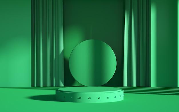 3d рендеринг абстрактных зеленых сцен и подиума геометрических фигур