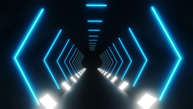 추상 네온 터널 조명의 3d 렌더링
