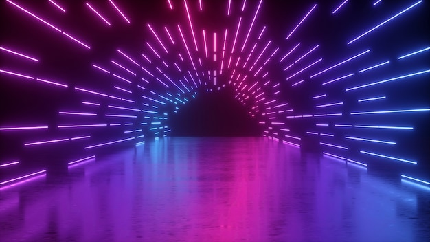 3d-рендеринг абстрактного неона с розово-синими светящимися линиями