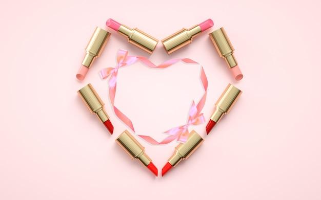 모형 디스플레이 립스틱과 추상 분홍색 배경의 3d 렌더링