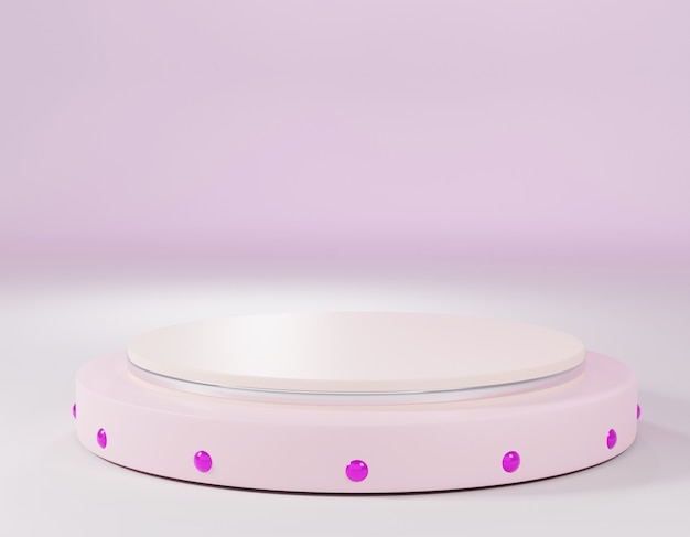 연단 디스플레이 또는 쇼케이스를 위한 추상 분홍색 기하학적 모양의 3d 렌더링 현대적인 미니멀리즘 모형.